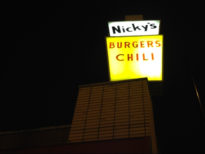 Nicky's Burgers Chili Sign Archer Avenue, Garfield Ridge, Chicago - December 2014