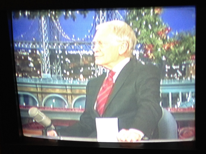Watching David Letterman's Last Christmas Show on TV in Chicago - December 2014