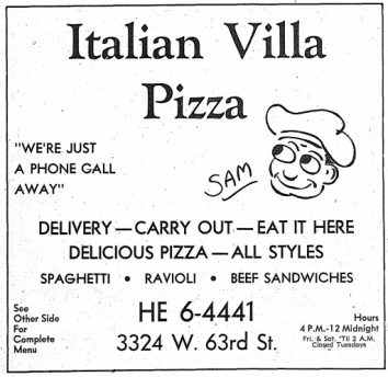 Italian Villa Pizza, 3324 W. 63rd, Chicago - Independent Directory, 1976 - Oak Lawn Public Library