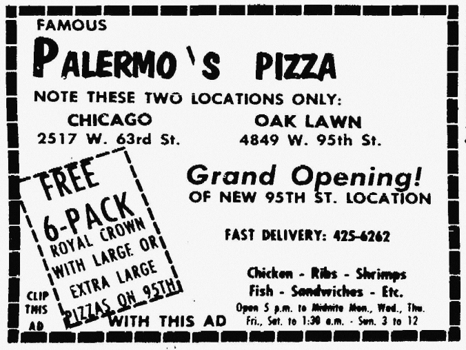 Palermo's 2417 W. 63rd and 4849 W. 95th - Suburbanite Economist, November 7, 1971