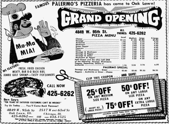 Palermo's 95th Grand Opening - Suburbanite Economist, November 21, 1971