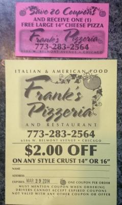 Frank's Pizzeria cards