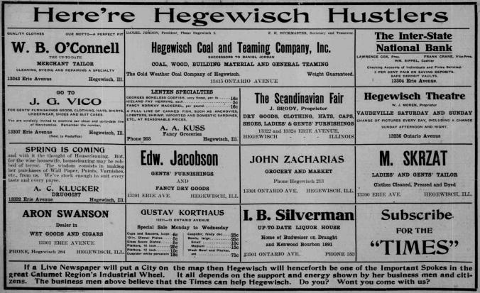Hammond Times, Volume 2, Number 5,Hammond, Lake County, 2 March 1912 p. 8