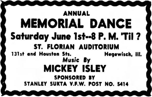 St. Florian Annual Memorial Dance, 1957