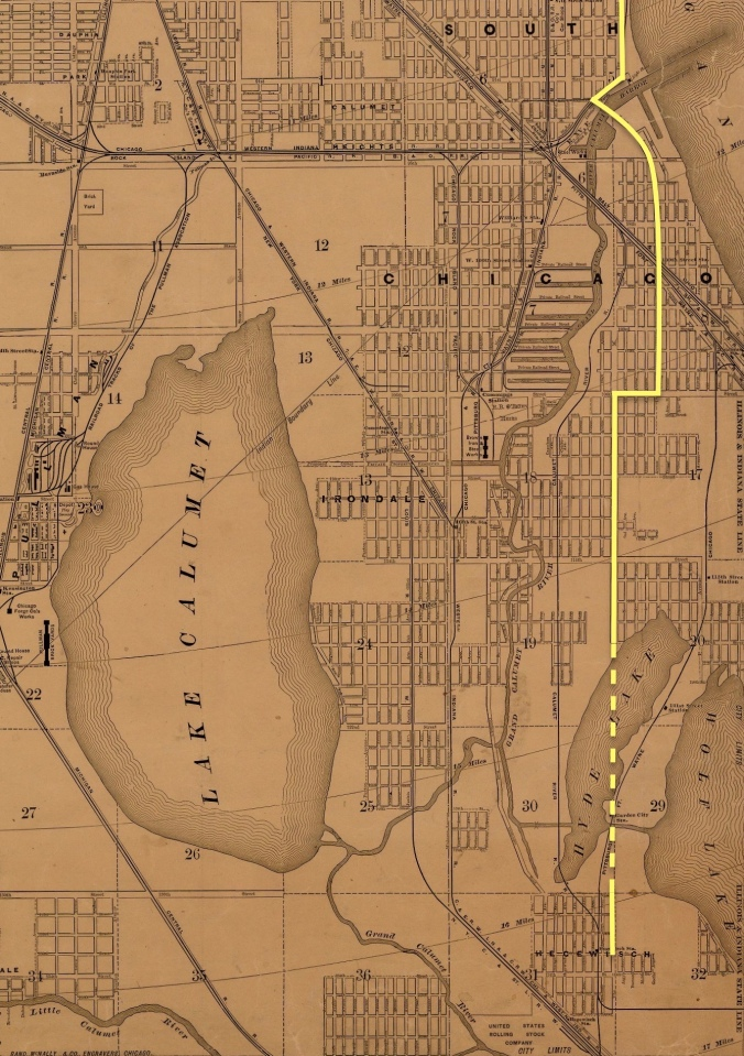 Our route through South Chicago and Hyde Lake. Rand McNally Standard Map of Chicago, 1890 – Version 6