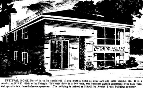 Festival Home - Avalon Trails Two-flat - Tribune Sep. 28, 1963