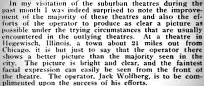 Hegewisch Theatre - Motion Picture News