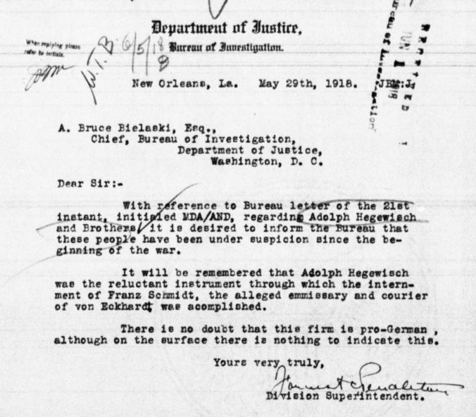 A.E. Hegewisch Justice Dept. Accusation