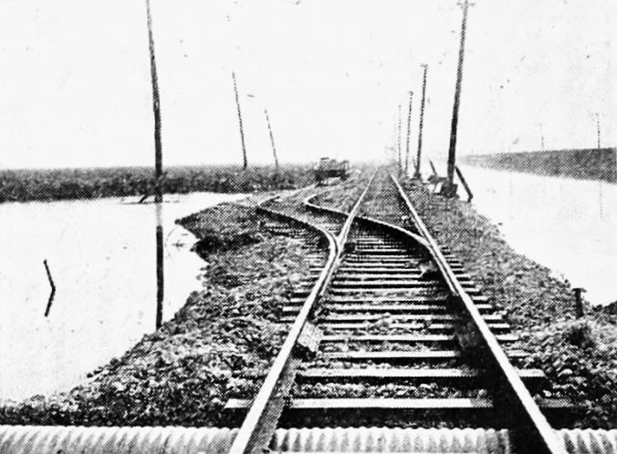 Street car through marsh, 1919