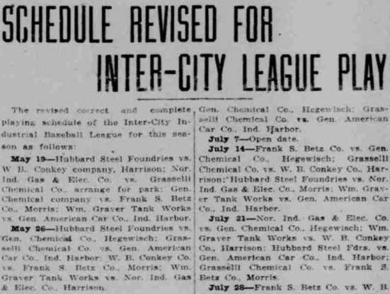 Inter-City League Schedule, Lake County Times, May 15, 1917