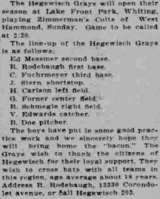 Hegewisch Grays - Lake County Time, May 25, 1912