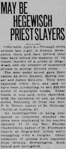 St. Florian Murder, 1922 - Lake County Times, April 8, 1922.