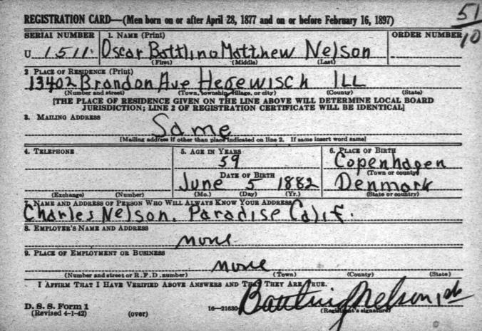 Battling Nelson World War II Draft Card