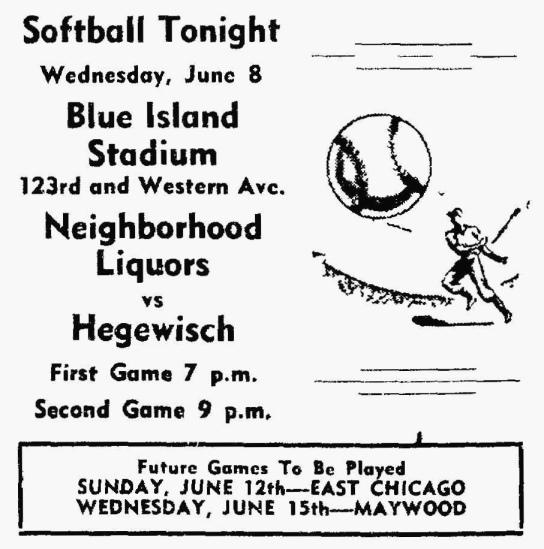 Hegewisch Softball - South End Reporter, June 8, 1949