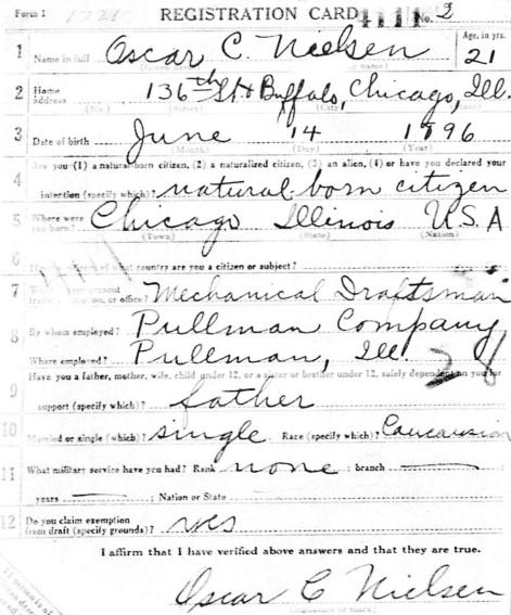 Oscar C. Nielsen World War I Draft Card. Source: National Archives.