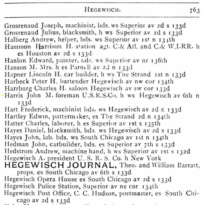 John Harris 1889 Directory Hyde Park