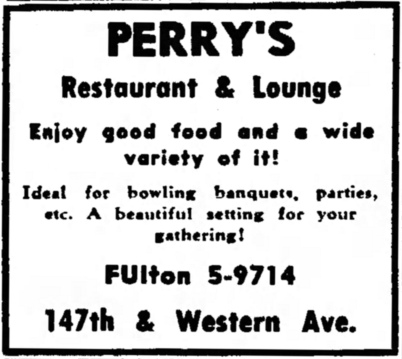 Perry's Restaurant & Lounge, 147th & Western, Harvey - Suburbanite Economist, March 17, 1954