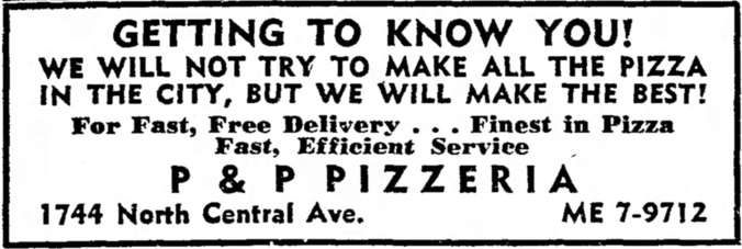 P & P Pizzeria, 1744 N. Central - The Garfieldian, October 10, 1962