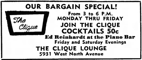 Ed Reinhardt at The Clique Lounge, 5931 W. North Ave. Source: Austin News, October 23, 1963.