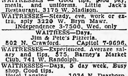 Jim & Pete's, 802 N. Crawford - Chicago Tribune, July 1, 1952