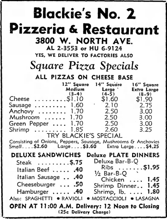Blackie's No. 2 Pizzeria, 3800 W. North Ave. - The Garfieldian, August 8, 1962