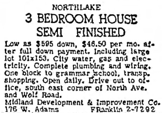 Northlake Semi Finished House - Chicago Tribune, September 21, 1949