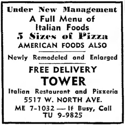 Tower PIzza, 5517 W. North Ave. - The Garfieldian, April 1, 1959
