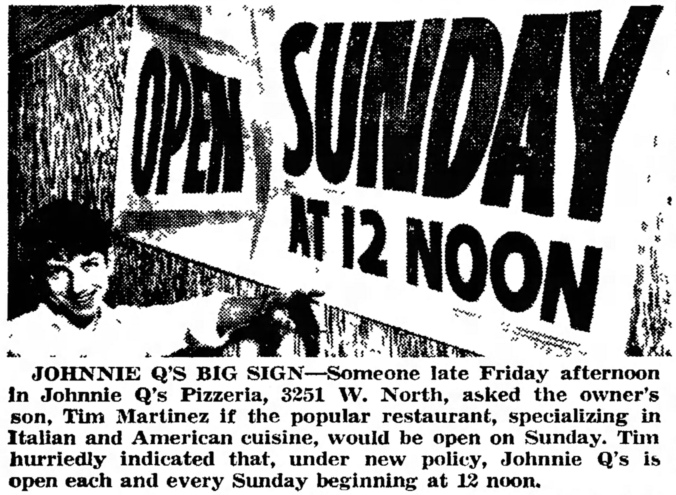 Johnnie Q's Pizzeria, 3251 W. North Ave. - The News, March 17, 1965 – Version 2