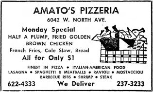 Amato's Pizzeria, 6042 W. North Ave. - The Garfieldian, December 8, 1965