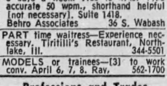 Waitress at Tiritilli's Restaurant, Northlake - Chicago Tribune, March 24, 1971