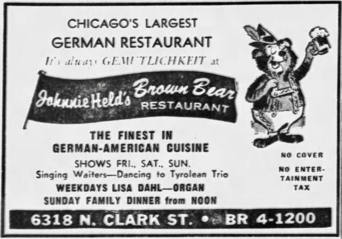 Lisa Dahl, Organ at Johnnie Held's Brown Bear Restaurant, 6318 N. Clark St. - Chicago Tribune, October 27, 1966