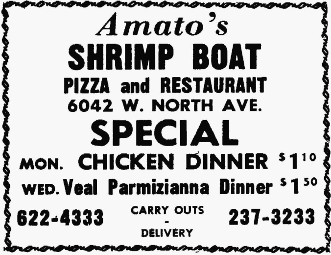 Amato's Shrimp Boat Special, 6042 W. North Ave. - The Garfieldian, February 25, 1968