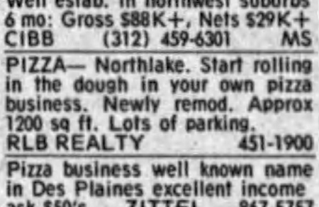 Pizza Business For Sale, Northlake - Chicago Tribune, November 21, 1985