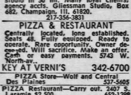 Pizza for Sale (Ann's?), 5743 W. North Ave. - Pizza for Sale (Ann's?), 5743 W. North Ave. - Chicago Tribune, January 25, 1968