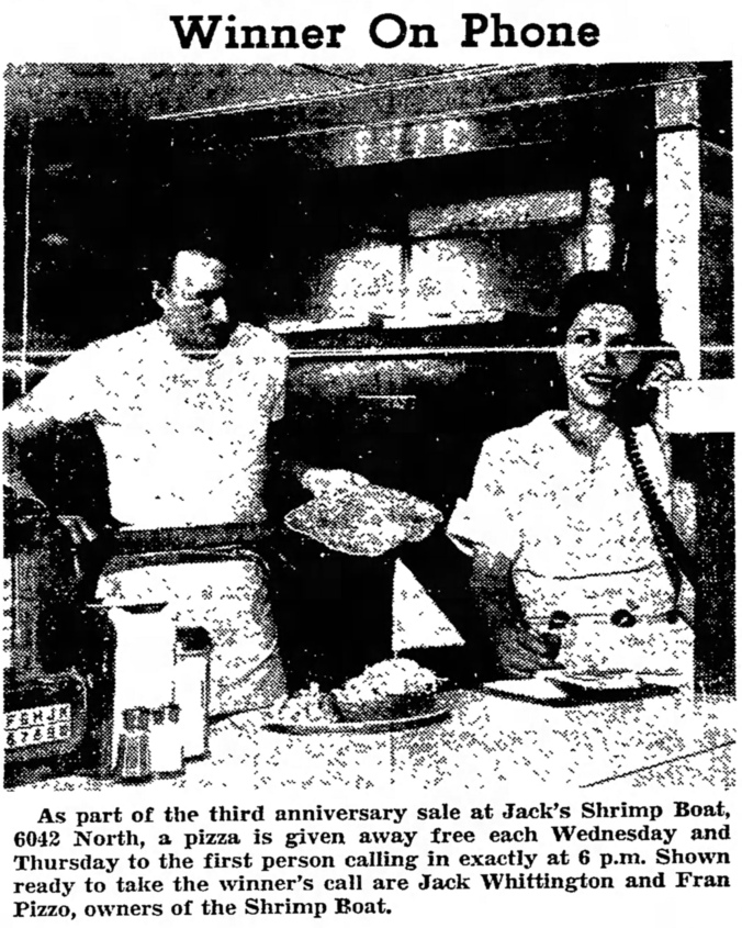 Winner On Phone - Jack Whittington and Fran Pizzo, Jack's Shrimp Boat - The Garfieldian, October 8, 1958
