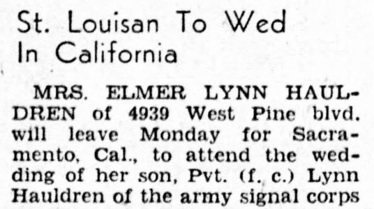 Lynn Hauldren Wedding, Army, St. Louis - St. Louis Star and Times, November 19, 194?