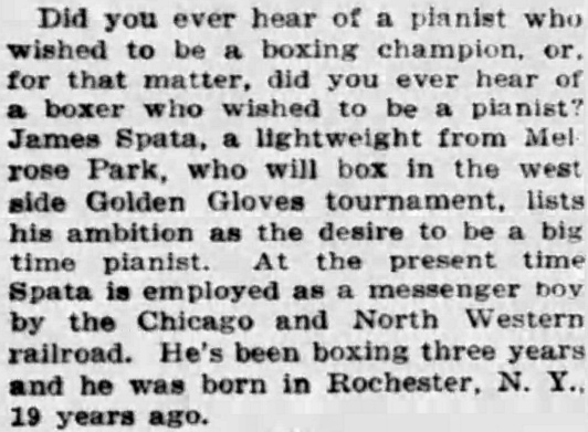 James Spata, Melrose Park, Lightweight Boxer by Wilfrid Smith - Chicago Tribune, February 11, 1933