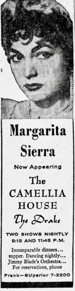 Margarita Sierra at the Camellia House at the Drake - Chicago Tribune, December 28, 1956