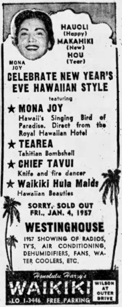 Mona Joy, Tearea, Chief Tavui, Waikiki Hula Maids at Honolulu Harry's Waikiki, Wilson at Outer Drive - Chicago Tribune, December 28, 1956