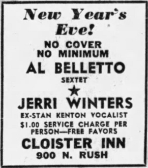 Al Belletto Sextet, Jerri Winters at Cloister Inn, 900 N. Rush - Chicago Tribune, December 28, 1956