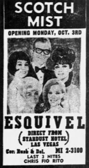 Esquivel at Scotch Mist, Rush & Delaware - Chicago Tribune, September 30, 1966