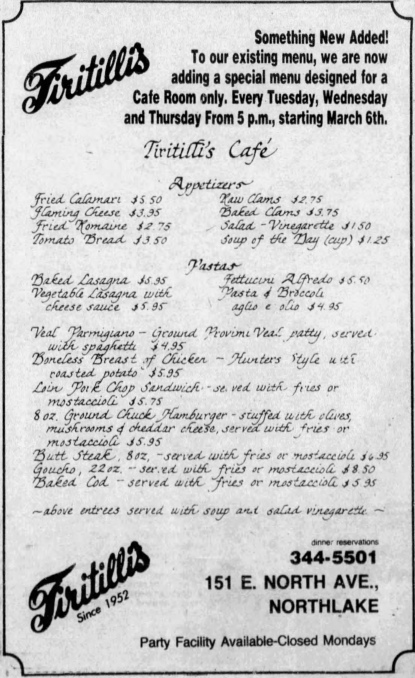 Tiritilli's, 151 E. North Ave. - Chicago Tribune, March 2, 1984