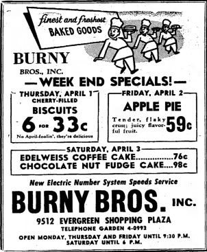 Burny Bros., 9512 Evergreen Shopping Plaza - Southtown Economist, March 31, 1954