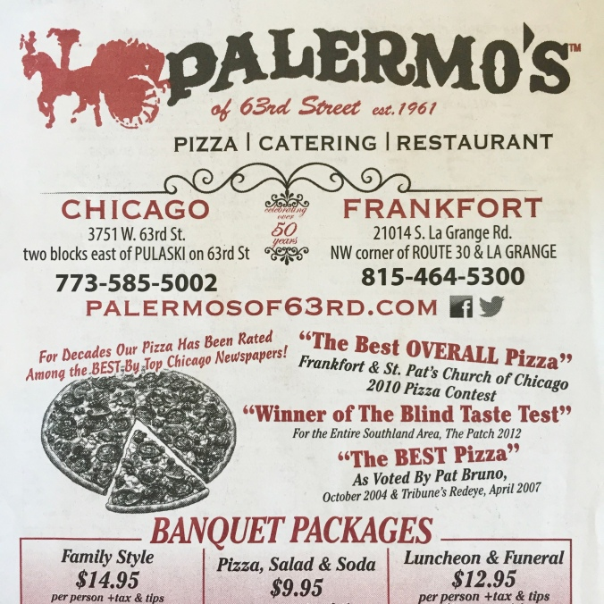 Palermo's of 63rd Street Est. 1961 Menu - Chicago and Frankfort Locations - December 2014