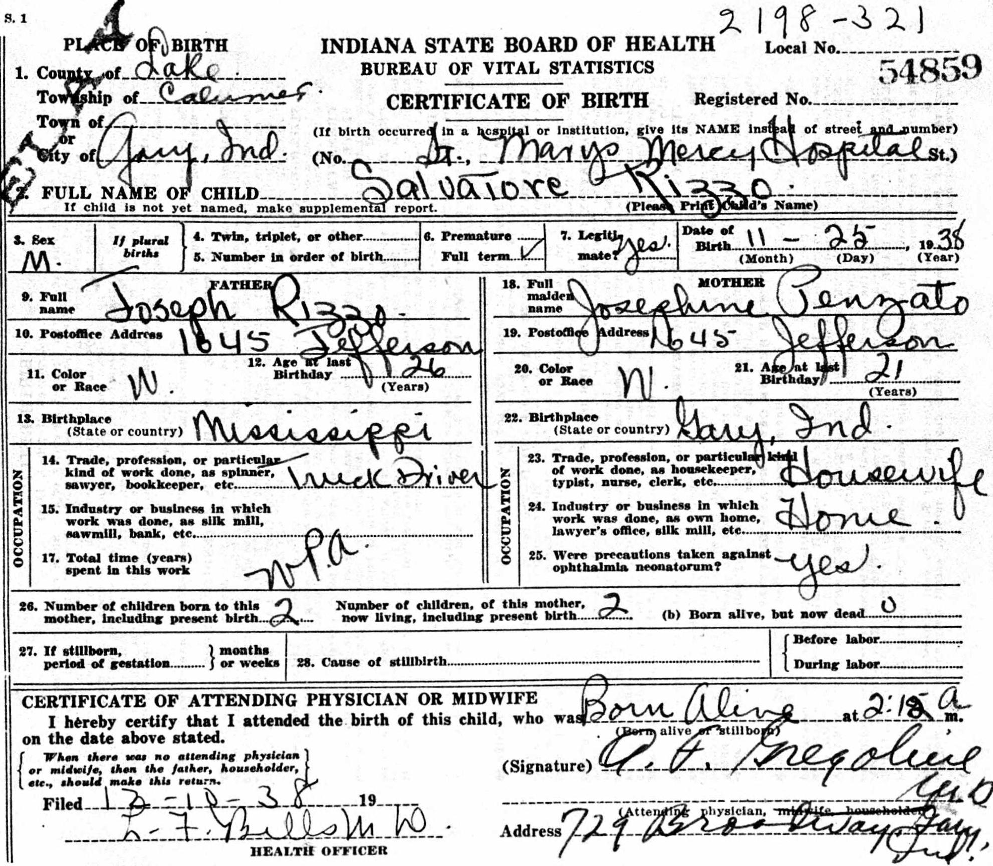 Salvatore (Sam) Rizzo, 1938-2016, Birth Certificate