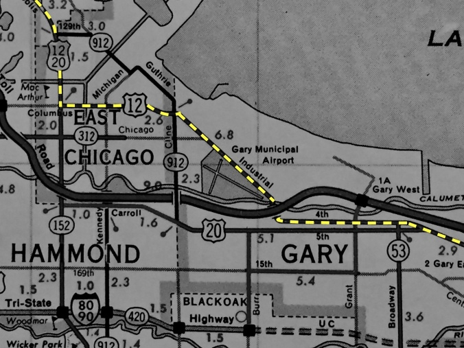 Map of Trip Through Whiting, East Chicago, and Gary
