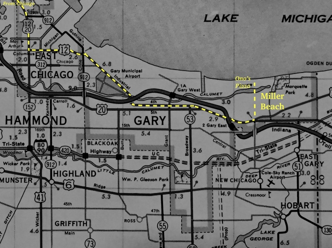 Map of Trip From Chicago to Ono's Pizza in Miller Beach, Gary, Indiana