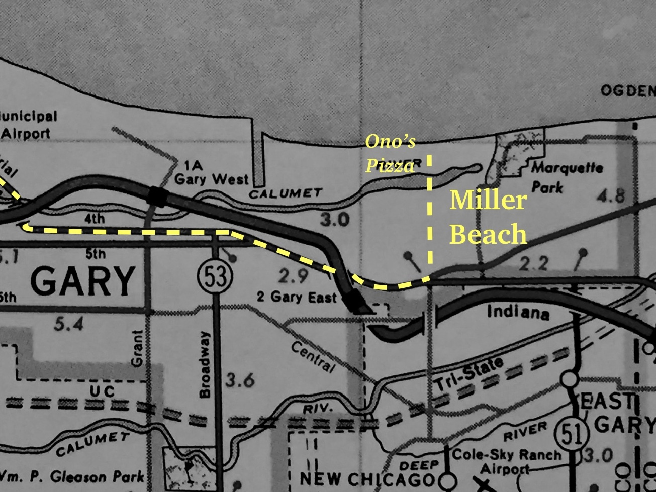Map of Trip Through Gary to Ono's Pizza in Miller Beach