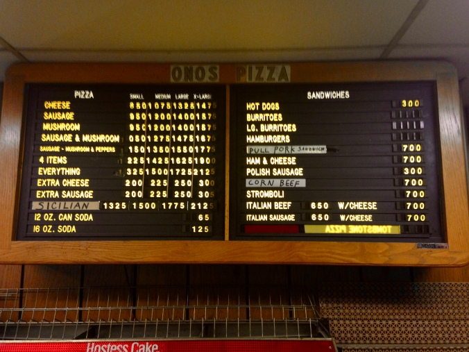 Wall Menu Inside Ono's Pizza - Miller Beach, Gary, Indiana - December 20, 2014