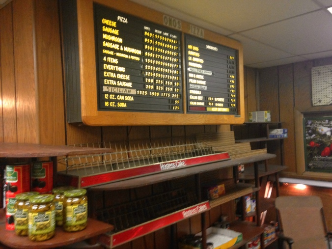 Wall Menu and Shelves at Ono's - Miller, Gary - 2014